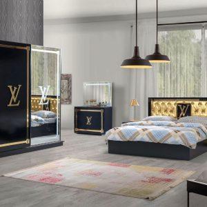 VUITTON BLACK mobila dormitor mobstore